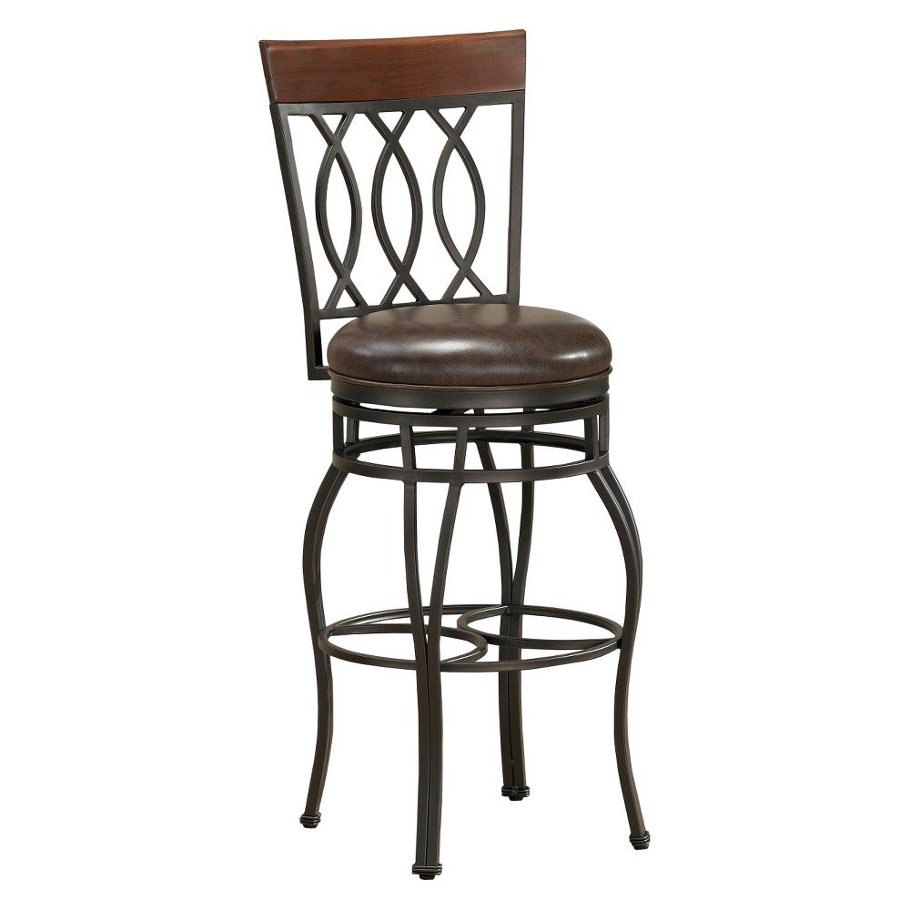 26 Bella Swivel Bonded Leather Counter Stool - Bourbon, Brown