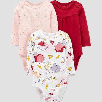 Baby Girls' 3pk Organic Floral Long Sleeve Bodysuit - little planet organic by carter's White/Pink Newborn