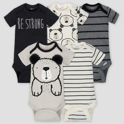 Gerber Baby Boys' 5pk Short Sleeve Onesies Bodysuit Bear - Gray/Oatmeal 0/3M