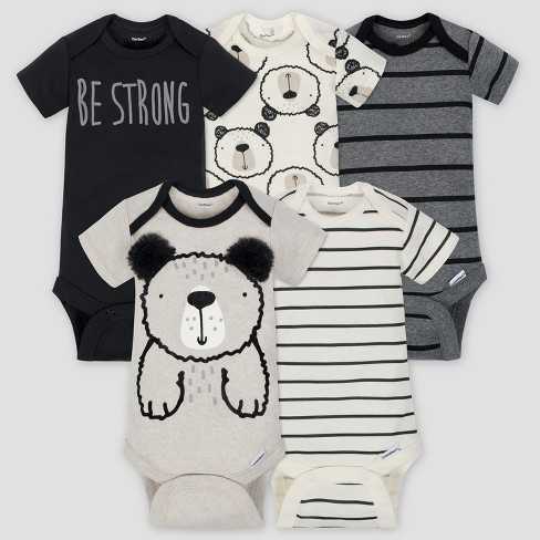 Gerber Baby Boys' 5pk Short Sleeve Onesies Bodysuit Bear - Gray/Oatmeal - image 1 of 9