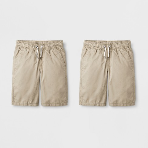 Boys' 2pk Pull-On Shorts - Cat & Jack™ Khaki - image 1 of 2