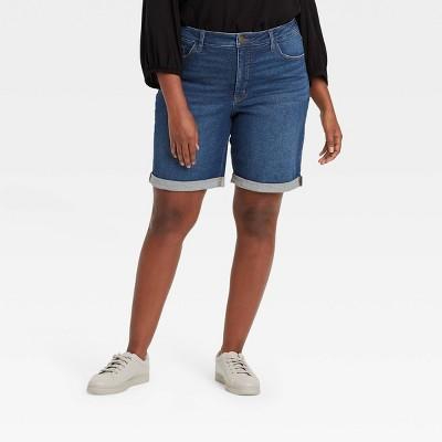 Women's Plus Size Roll Cuff Bermuda Jean Shorts - Ava & Viv™ Dark Wash