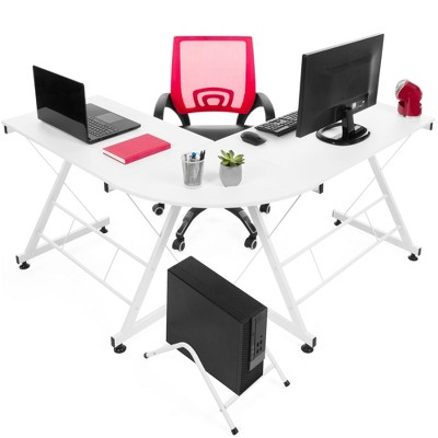 Best Choice Products Modular L-Shape Desk Workstation for HomeOffice w/ Wooden Tabletop Keyboard Tray