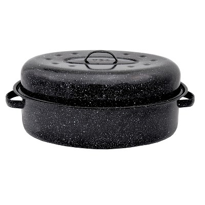 Columbian Graniteware 18  Covered Oval Roasting Pan