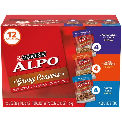 Purina Alpo Gravy Cravers Pouch Roast Beef, Chicken & Beef Flavors Adult Wet Dog Food - 3.5oz/12ct Variety Pack - image 1 of 4