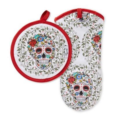 Fiesta Skull & Vine Oven Mitt + Pot Holder - Fiesta