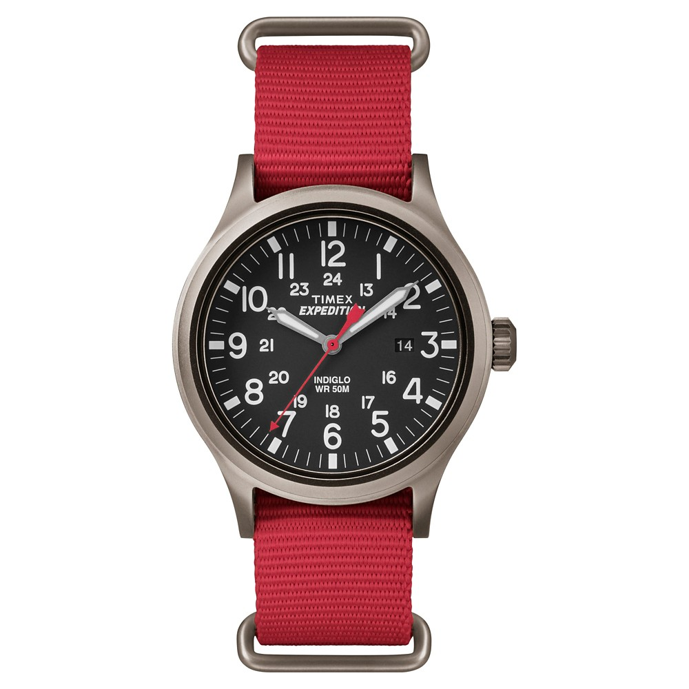 Men's Timex Expedition Scout Watch with Nato Nylon Strap - Gray/Red TW4B045009J