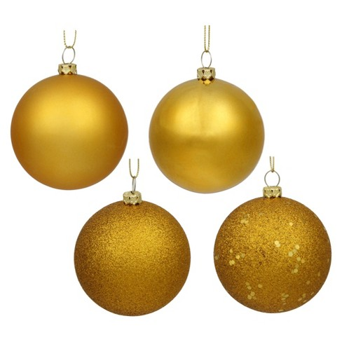 12ct Antique Gold Assorted Finishes Ball Christmas Ornament Set - image 1 of 1