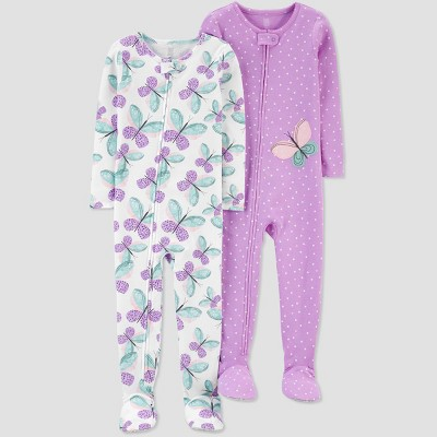 Baby Girls' 2pk Butterfly Footed Pajama - Just One You® made by carter's White/Purple/Green