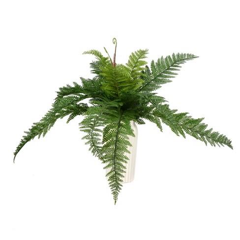 "Vickerman 16"" Artificial Green Leather Fern Bush. - image 1 of 2"