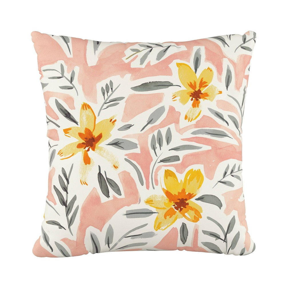 Cari Floral Square Throw Pillow Coral (Pink) - Cloth & Co.