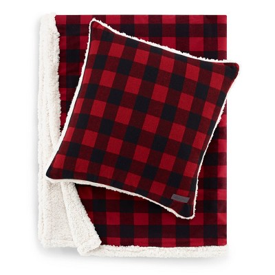"50""x60"" Cabin Plaid Throw Blanket with Square Throw Pillow Set- Eddie Bauer"