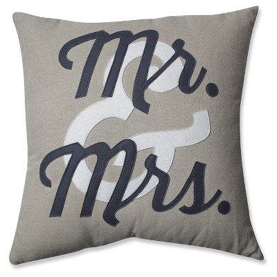 Pillow Perfect Mr & Mrs Throw Pillow - 18 x18  - Black
