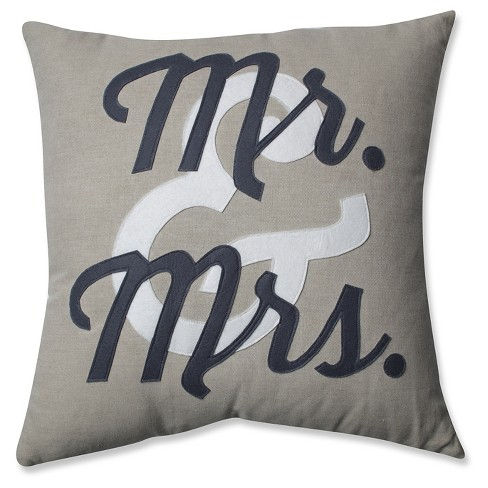 "Pillow Perfect Mr & Mrs Throw Pillow - 18""x18"" - Black - image 1 of 2"