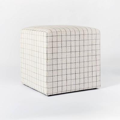 Lynwood Square Upholstered Cube Windowpane Plaid - Threshold™ designed with Studio McGee