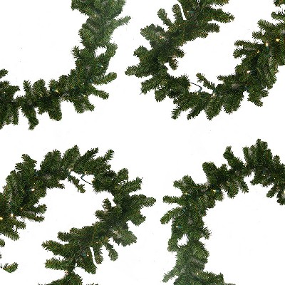 """Darice 9' x 10"""" Prelit LED Battery Operated Pine Artificial Christmas Garland - Warm Clear Lights"""