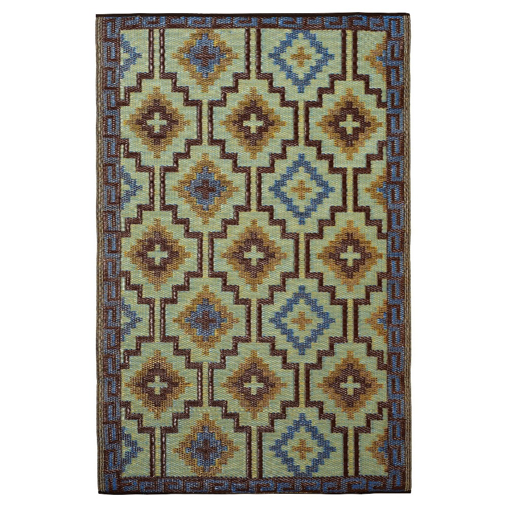 Image of Fab Habitat Outdoor Rug (3' x 5') - Lhasa Royal Blue/Chocolate Brown, Size: 3'X5'