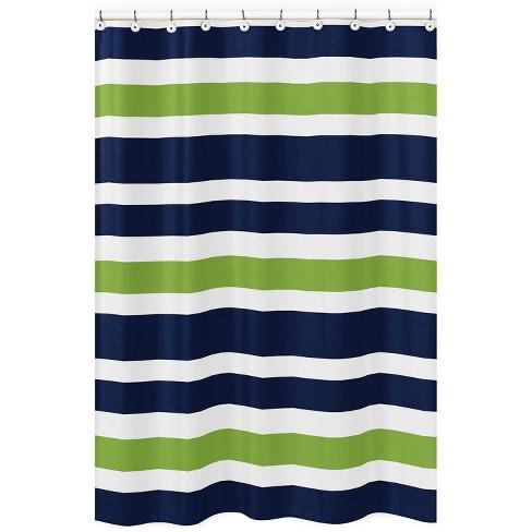 Striped Shower Curtain Green - Sweet Jojo Designs - image 1 of 4