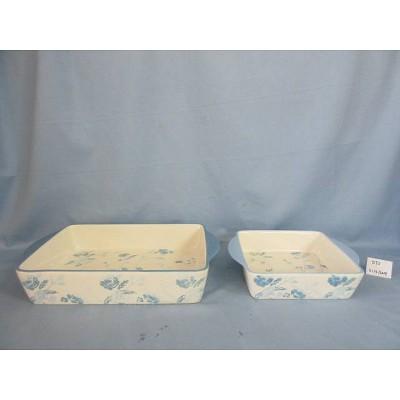 2pc Stoneware Floral Bakeware Set Blue - Threshold™