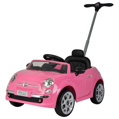 Best Ride On Cars 2-in-1 Fiat 500 Baby Toddler Toy Push Vehicle Stroller with 40 Pound Capacity and Lights for Children Ages 1 to 3 Years Old, Pink - image 1 of 4