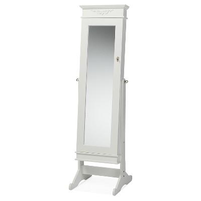 Bimini Wood Crown Molding Top Free Standing Full Length Cheval Mirror Jewelry Armoire - Baxton Studio
