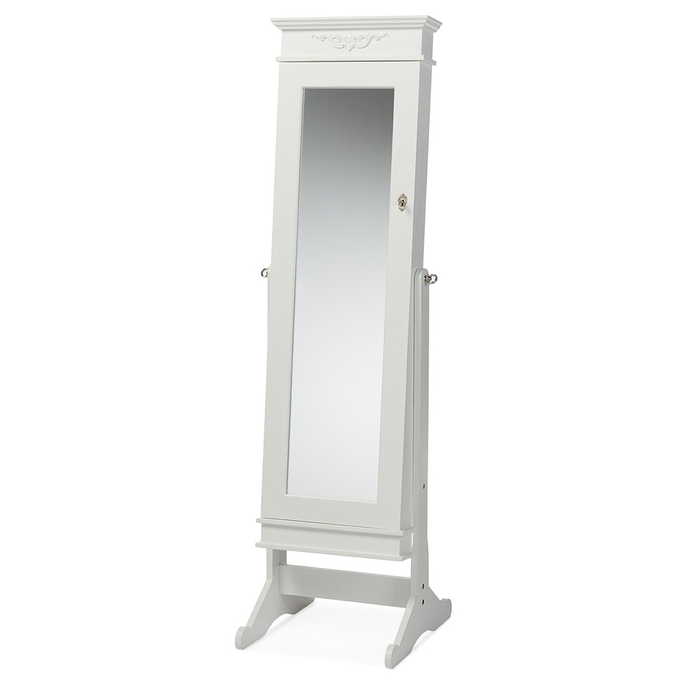Bimini Wood Crown Molding Top Free Standing Full Length Cheval Mirror Jewelry Armoire - White Finish - Baxton Studio