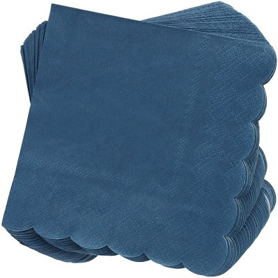 Juvale 100-Pack Bulk 2-Ply Scalloped Disposable Paper Cocktail Napkins, Dark Blue, 5 x 5 Inches