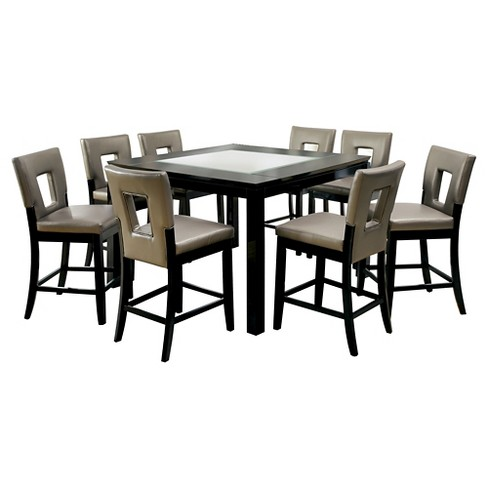 9pc BrunstonGlass Insert Table Top Counter Dining Table Set Black - ioHOMES - image 1 of 3