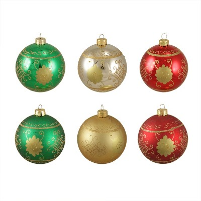 """Sterling 6ct Glittered Floral Shatterproof Christmas Ball Ornament Set 3.25"""" - Green/Red"""