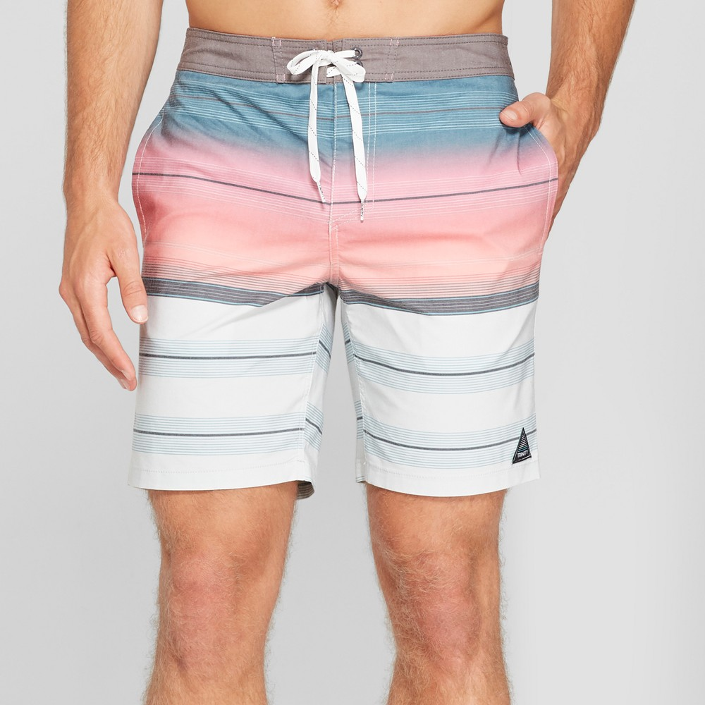 Trinity Collective Men's Striped 8.5 Rapido Board Shorts - Pink 34