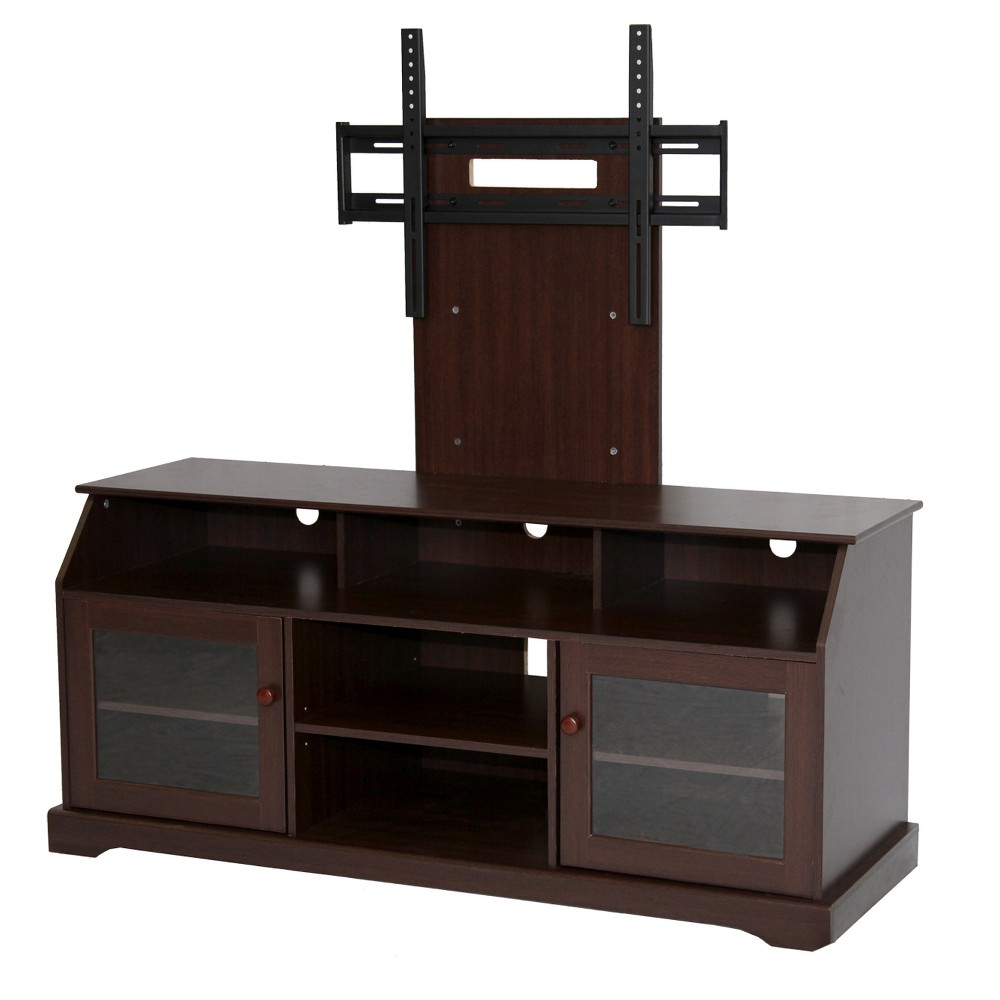 60 Wood TV Stand With Mount Rack Dark Brown - Home Source Industries