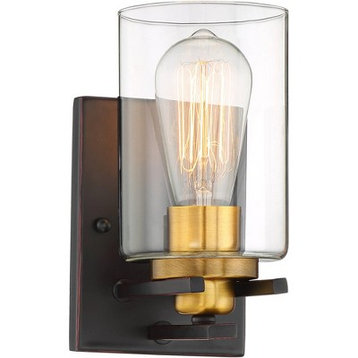 """Possini Euro Design Vintage Industrial Wall Light Sconce Bronze Gold Hardwired 8 3/4"""" High Fixture Clear Glass Bedroom Bathroom"""