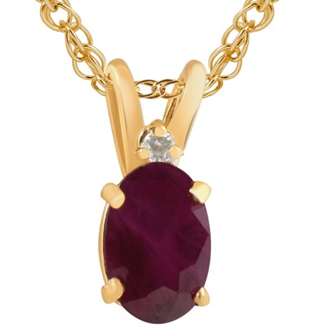 """Pompeii3 Oval Ruby & Diamond Solitaire Pendant 14 KT Yellow Gold With 18"""" Chain - image 1 of 4"""