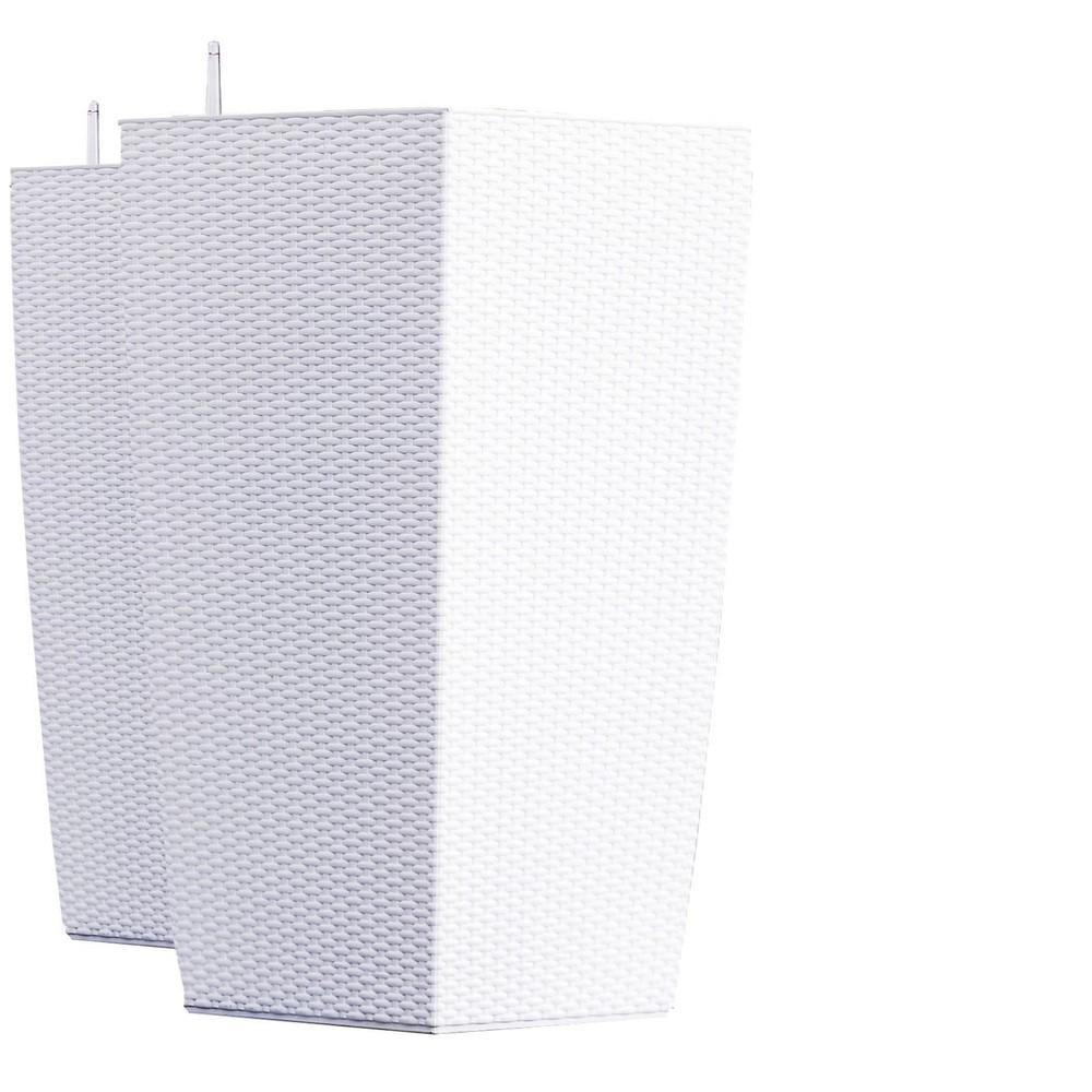 30 34 2pk Indoor Outdoor Nested Rattan Self Watering Planter Pot White Xbrand