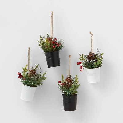 4ct Greenery in Metal Bucket Christmas Ornament Set  Black/White - Wondershop™