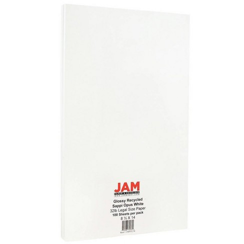 JAM Paper Glossy Legal 32lb 2-Sided Paper - 8.5 x 14 - White - 100 Sheets - image 1 of 2