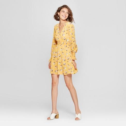 99f29a7490b9 Women s Floral Print Long Sleeve Smocked Waist Dress - Almost Famous  (Juniors ) Mustard