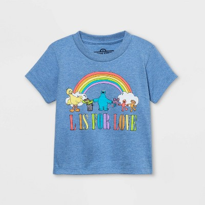 Pride Gender Inclusive Toddler's Sesame Street Short Sleeve T-Shirt - Light Blue
