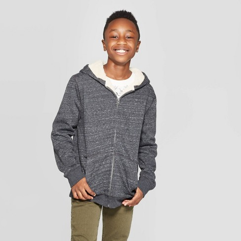 Boys' Long Sleeve Sherpa Lined Hooded Sweatshirt - Cat & Jack™ Charcoal - image 1 of 3