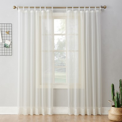Emily Sheer Voile Tab Top Curtain Panel Eggshell 59 x63  - No. 918