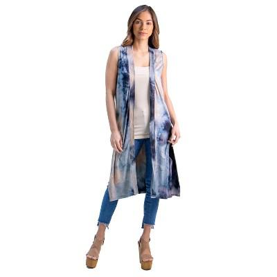 24seven Comfort Apparel Tie Dye Sleeveless Cardigan Vest