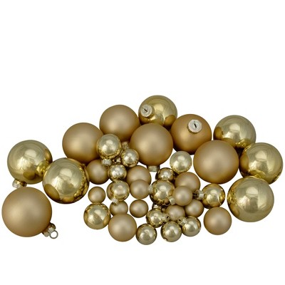 """Northlight 40ct Gold Glass 2-Finish Christmas Ball Ornaments 2.5"""" (60mm)"""