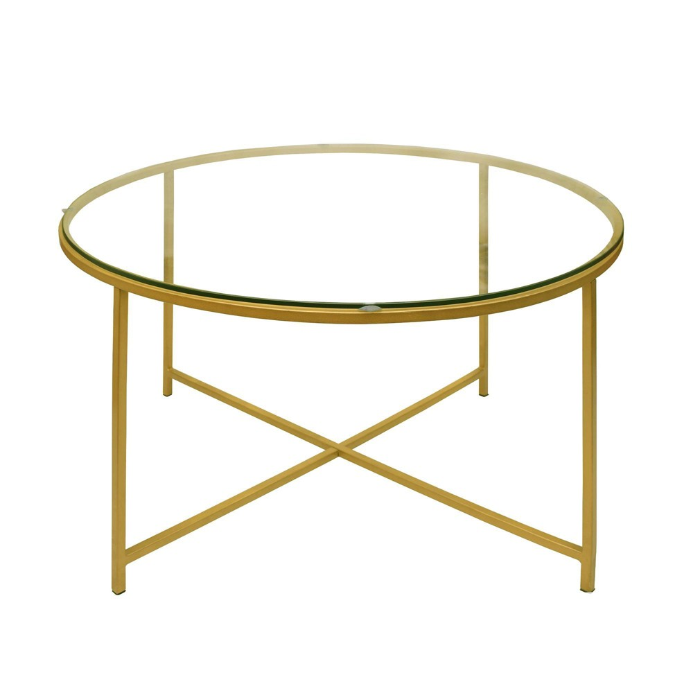 Image of Metal Coffee Table with Glass Top and X Shape Base Gold and Clear - The Urban Port