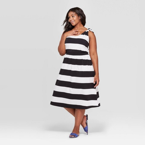 c220f022933 Women s Plus Size Striped Scoop Neck Maxi Dress - Who What Wear™ Black White  X   Target