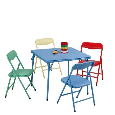 Plastic Development Group CH0020 Easy Cleanup 5 Piece Colorful Portable Kids Foldable Activity Table and Chair Set, Multicolor