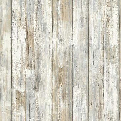 RoomMates Distressed Wood Peel And Stick Wallpaper Tan