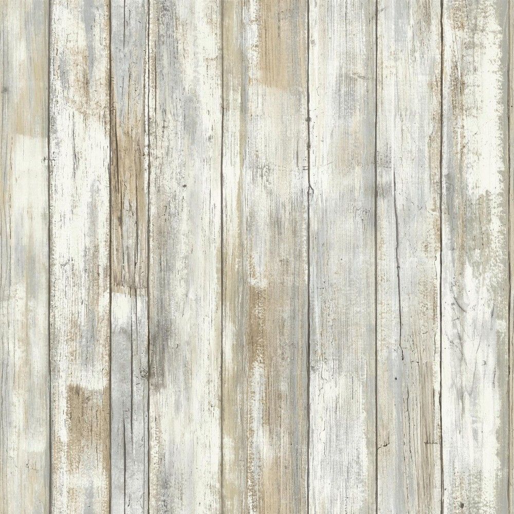 Distressed Wood Peel And Stick Wallpaper Tan - RoomMates, Multi-Colored