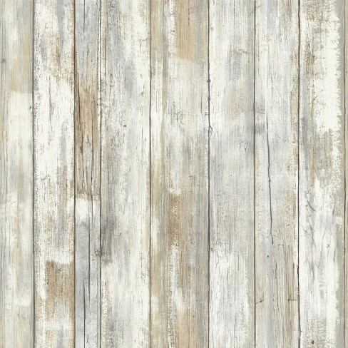 Roommates Distressed Wood Peel And Stick Wallpaper Tan Target