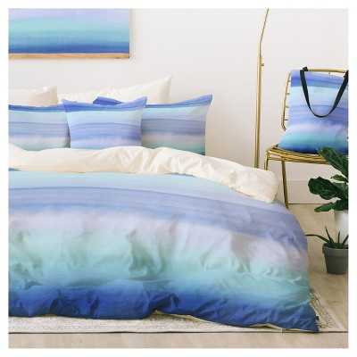Blue Amy Sia Ombre Watercolor Duvet Cover Set (Queen) - Deny Designs