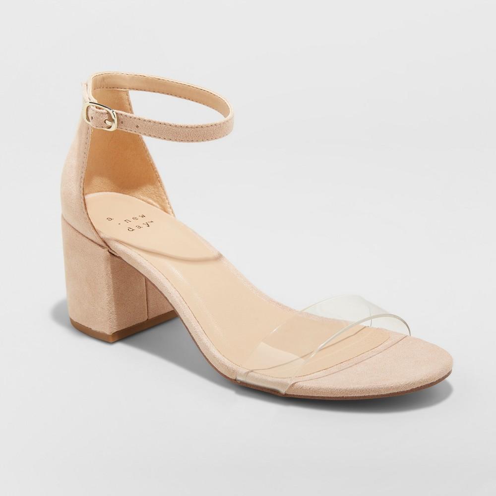 Women's Michaela Wide Width Clear Acrylic Mid Block Heel Pumps - A New Day Blush 8W, Size: 8 Wide
